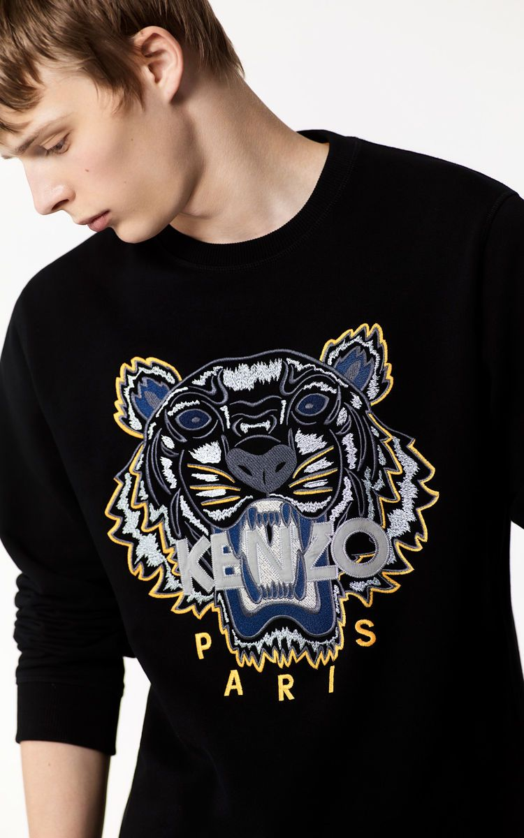f26f4c0c Tiger Sweatshirt , BLACK, KENZO | SHRUNKEN THREADS SS18 | Mens ...