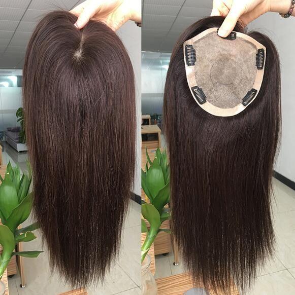 Human Hair Darkest Brown Half Wig Fall Wiglet Topper Top Piece