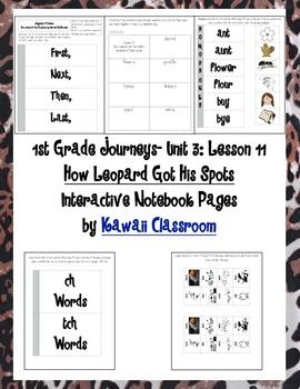 """$2.50 These interactive notebook pages are a great supplement to what is already included in the Journey's curriculum. I find that my students get more excited doing these types of activities rather than just workbook pages. This document includes:  -Story Sequence Flipbook -Vocabulary Flashcards for """"How Leopard Got His Spots"""" -Homophone flipbook -""""ch"""" and """"tch"""" words flipbook  I plan on making more so make sure to follow my store for updates!"""
