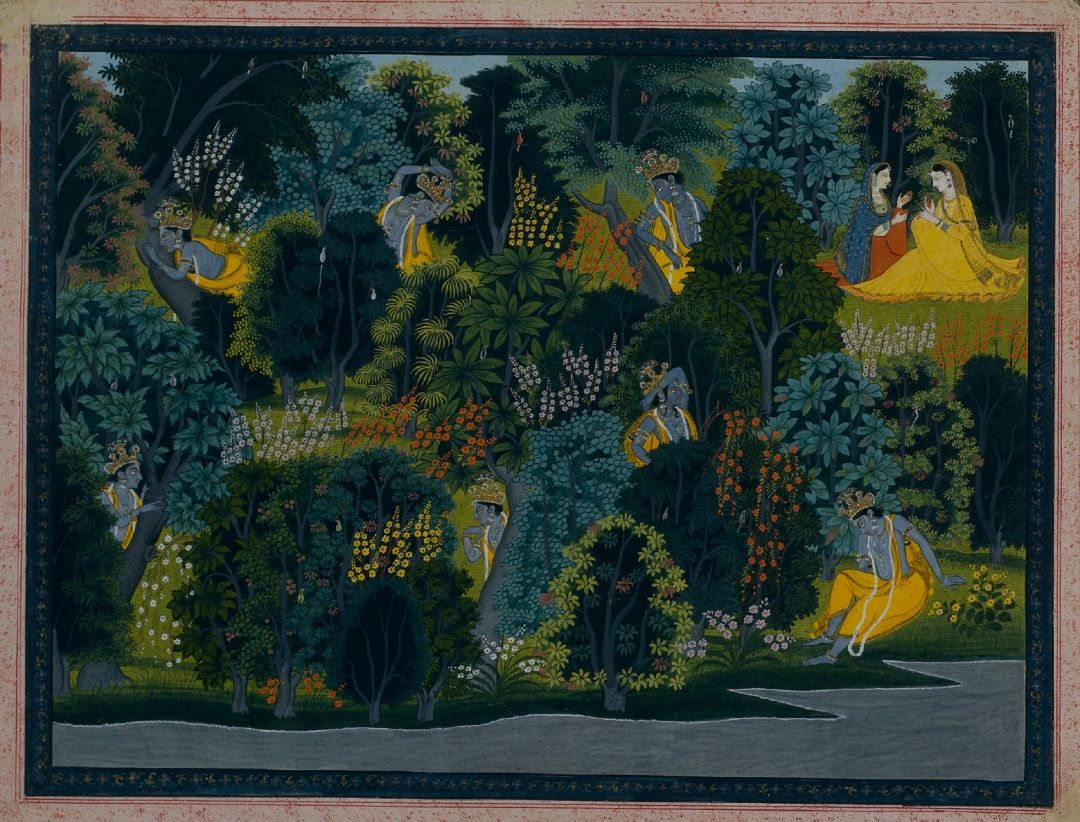 Krishna Longing Radha. India Pahari Hills Kangra School. Lambagraon Gita Govi