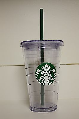b150ba04252 New! Starbucks Clear Grande 16oz Clear Cold Cup To Go Coffee Plastic Tumbler