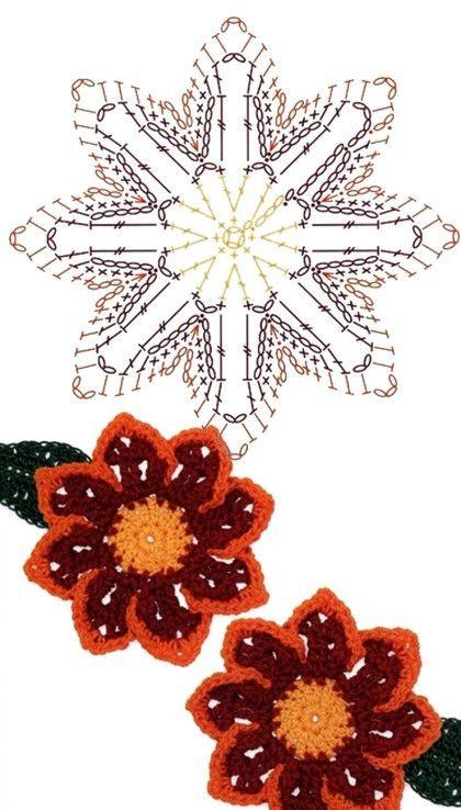 No.52 Gazania Crochet Flower Motifs / 가자니아 코바늘 플라워 모티브 ...