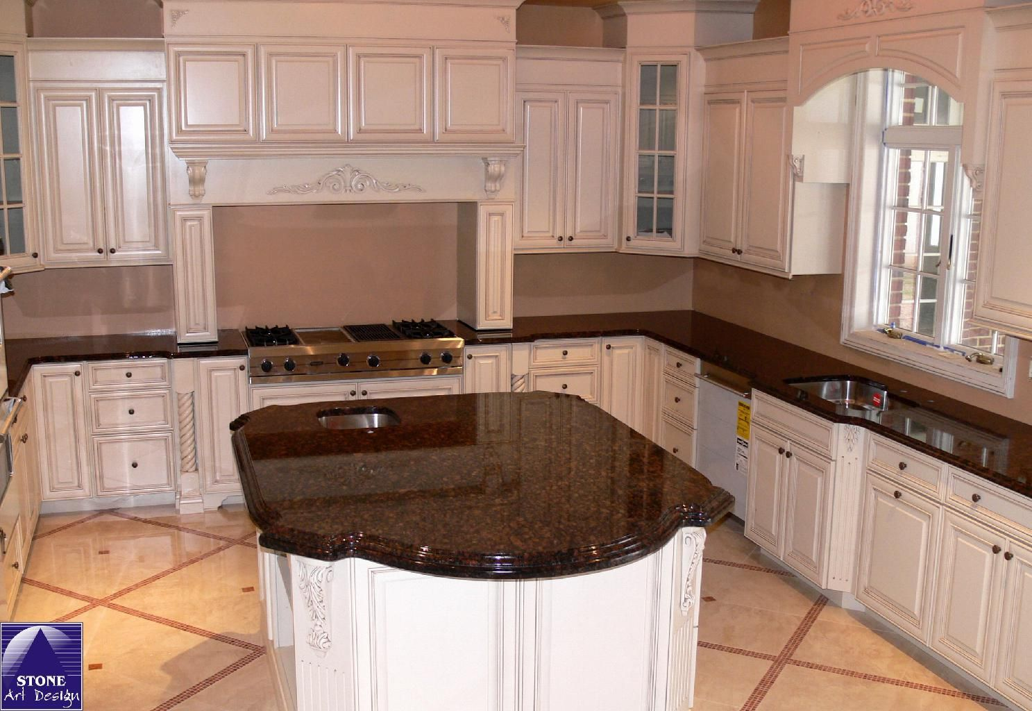 Tan Brown Granite Countertops Kitchen Our Granite With White Cabinets And Lighter Backsplash Could Tie