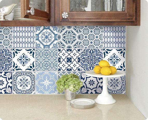 Kitchen Bathroom Tile Decals Vinyl Sticker Portugal Patchwork Pmix5 Bluebayu Tile Decals Tile Bathroom Tile Stickers Kitchen