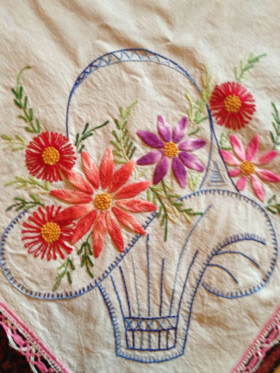 Outline embroidery designs for tablecloth - Hand Embroidered Vintage Tablecloth Basket Of Flowers Off White Linen 18 00 Via Etsy