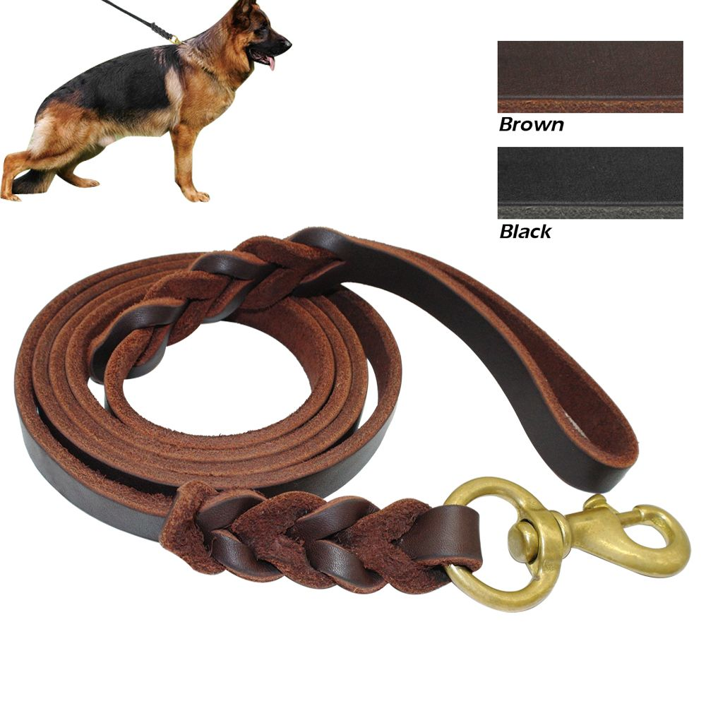 Black Brown Genuine Leather K9 Dog Training Long Leash Braided Pet