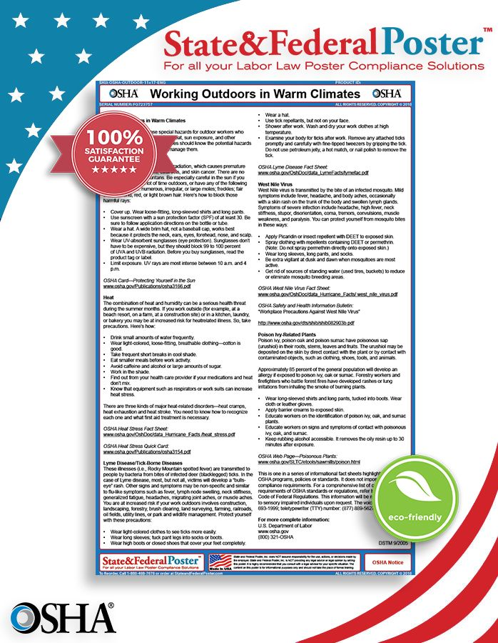 OSHA Working Outdoors in Warm Climates Factsheet! This