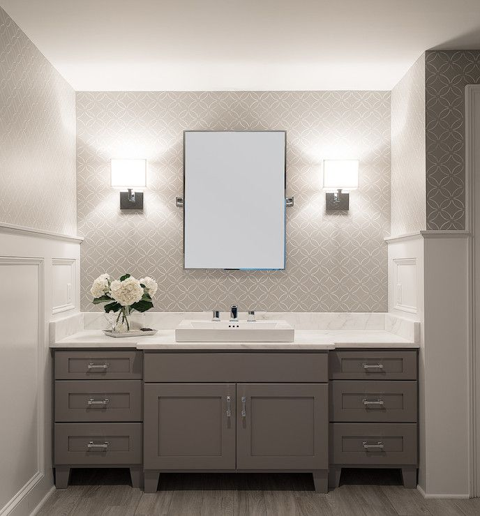 Bathroom Lighting Around Mirror Excellent White Bathroom Lighting Around Mirror Styles: Gray Vanity, Small Mirrors And Pattern Wallpaper