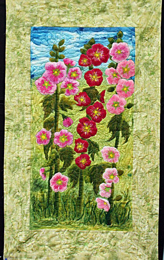 Original Art Quilt Hollyhocks In Sussex Mounted Etsy Art Quilts Flower Quilts Landscape Quilt