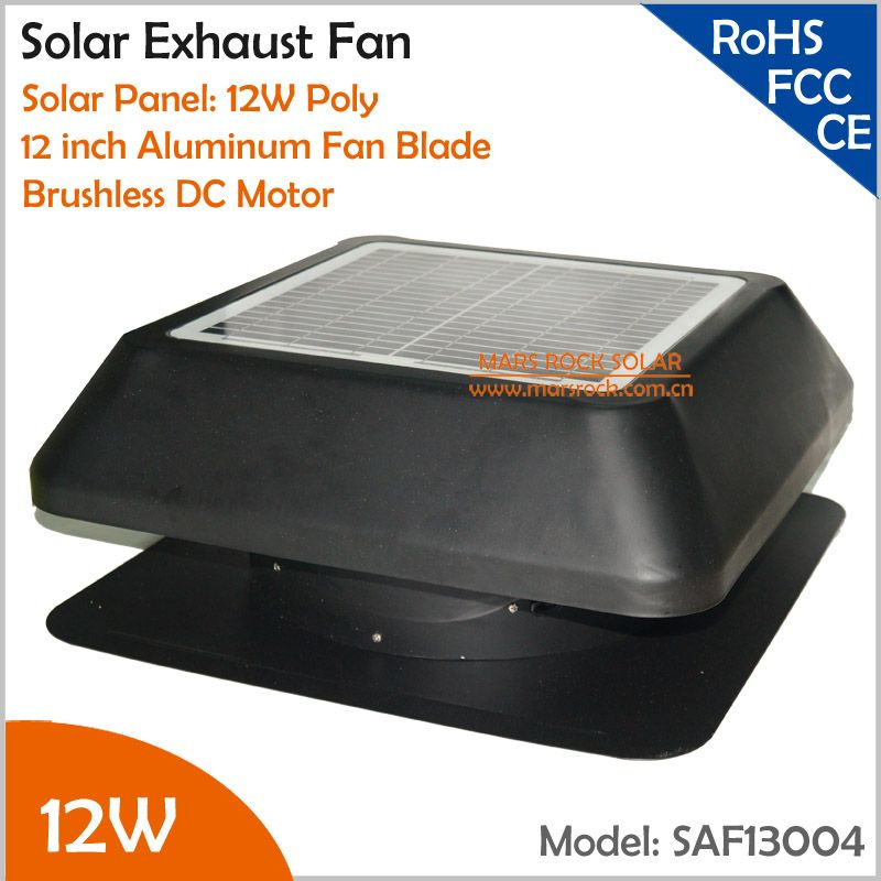Brushless 12w 12 Inch Solar Exhaust Fan With Temperature Controller Square Shape Solar Attic Vent Built In Solar Panel Exhaust Fan Solar Attic Vent Attic Vents