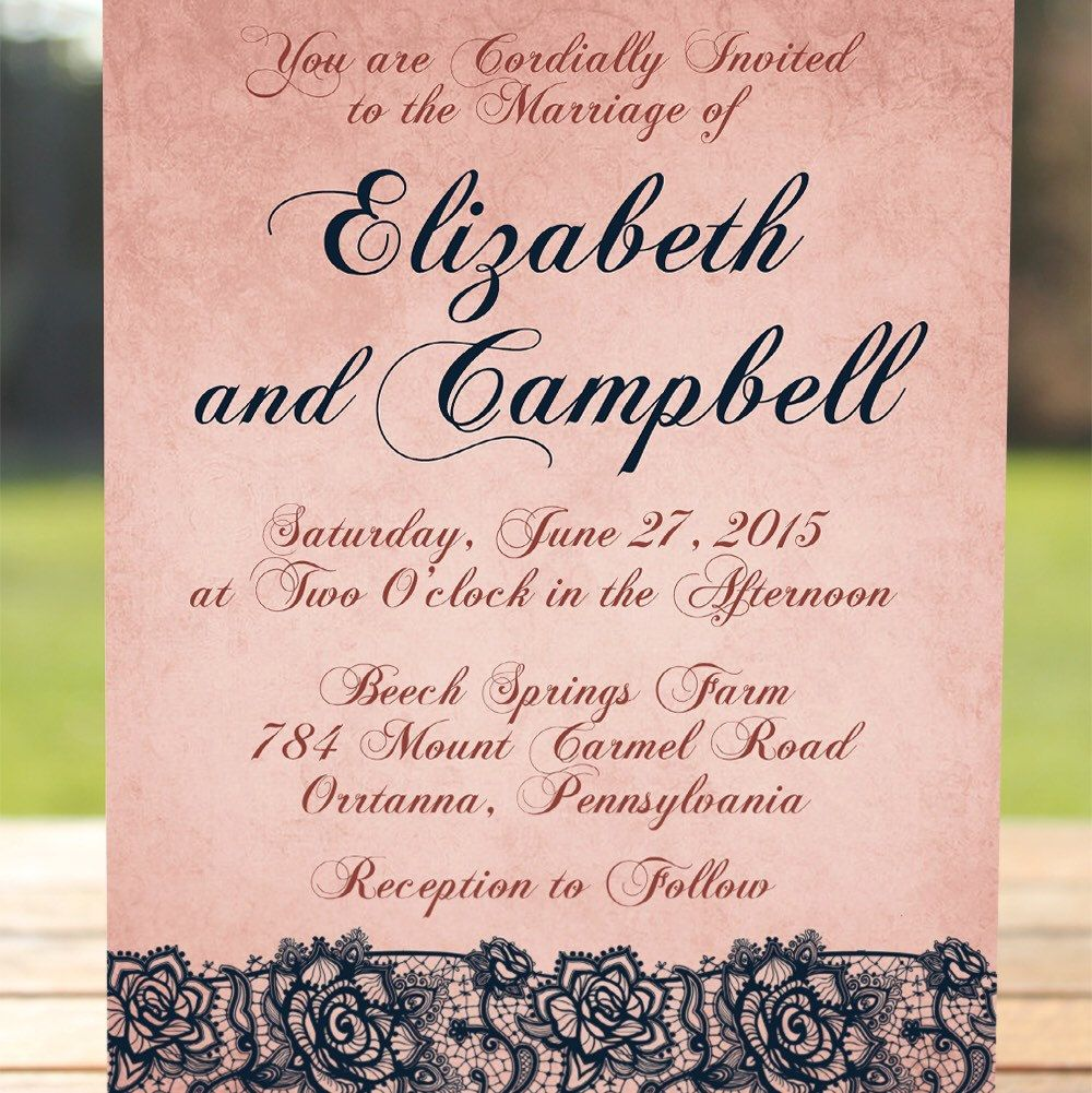 vintage wedding invitation text%0A Vintage wedding invitation with lace calligraphy font on a rustic rose  colored background  This is