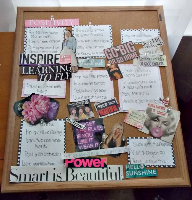DIY Inspiration / Vision board on Janetta LeRose   Stay inspired and organized this year with an easy alternative to a goal sheet.