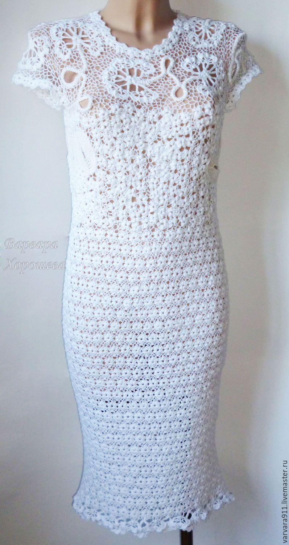 Купить Белое вязаное платье с кружевными вставками - вязаные ажурные платья, вязаные платья 2017
