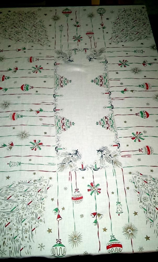 Vtg Christmas Tablecloth Trees Shiny Brights Mid Century Red Green Gold 60 X 50 Table Cloth Vintage Decorations