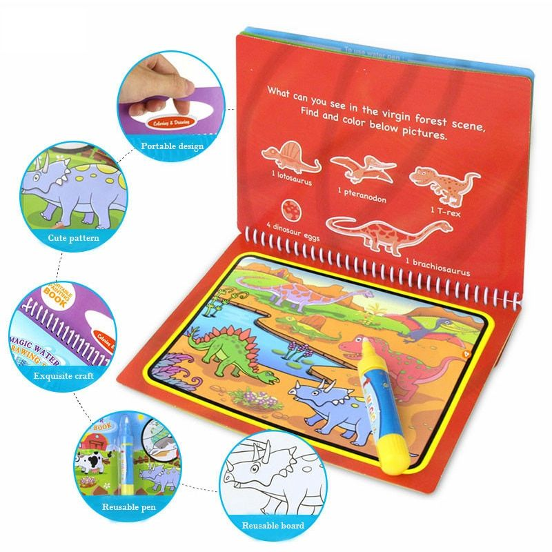 Just Reusable Cartoon Coloring Magic Water Painting Book With 1 Magic Pen Kids Coloring Doodle Drawing Board Toys Kid Painting Board Learning & Education
