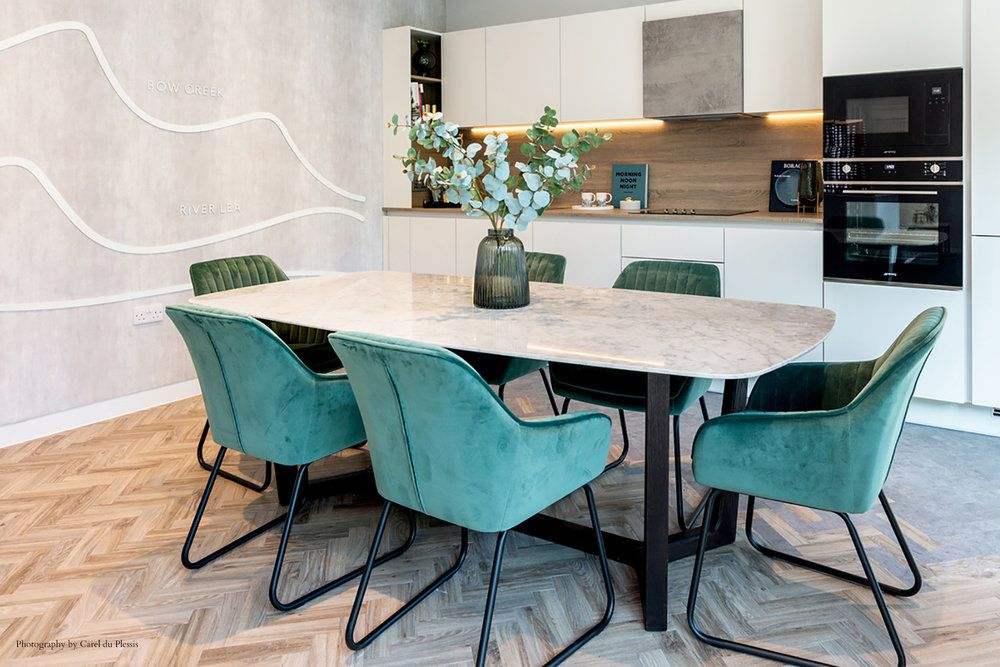 Green Velvet Dining Chairs White Oak And Concrete Kitchen Kitchen Design And Dining Area Market Concrete Dining Table Modern Dining Room Velvet Dining Chairs