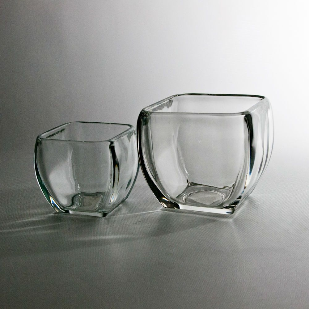 Rounded corner square vases Square glass vase, Clear