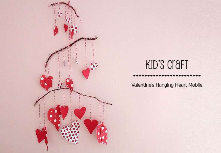 This adorably sweet heart mobile is the perfect kids craft for Valentine's Day. My daughter loved making this with me. We Know Stuff   Valentine's Hanging Heart Mobile   www.weknowstuff.us.com