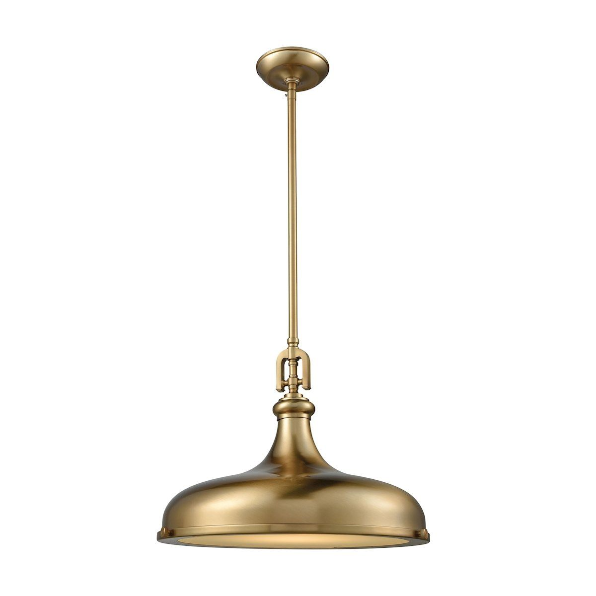 Elk lighting rutherford light pendant in satin brass with frosted
