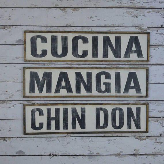 Three Signs Cucina Sign Italian Kitchen Sign Italian Decor