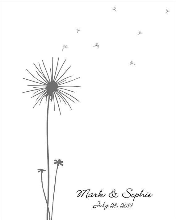 Wedding Guest Book, Wedding Guest Book Dandelion Fingerprint - guest book template