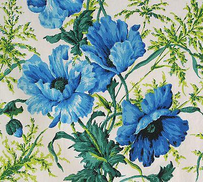 11fe609484 vintage 1950s large blue poppy floral print cotton barkcloth interiors  fabric
