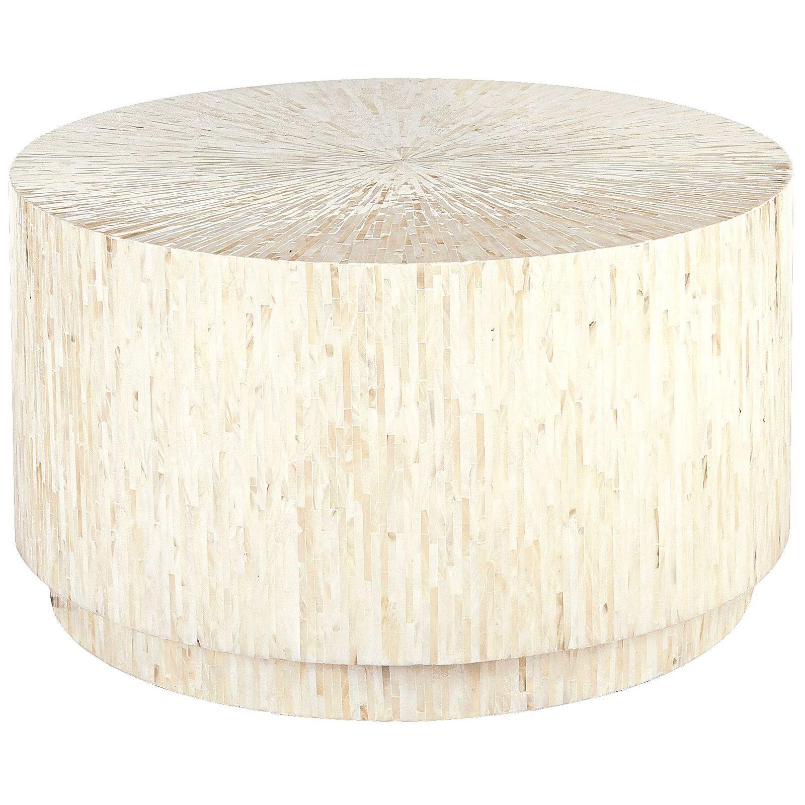 Modern White Round Coffee Table Art