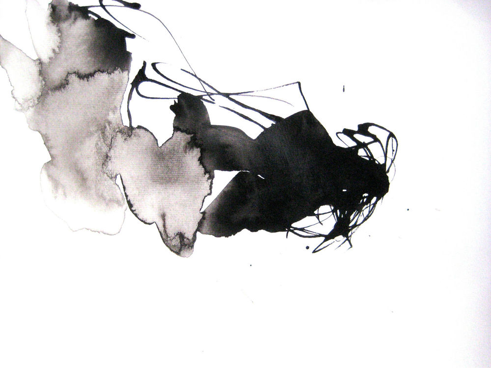 9x12in Ink Watercolor Fine Art Zen Contemporary Black ...