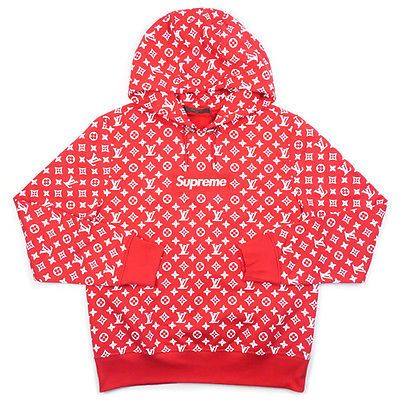 acc090adfbb SUPREME Louis Vuitton 17 AW Box Logo Hooded Sweatshirt Hoodie RED L ...