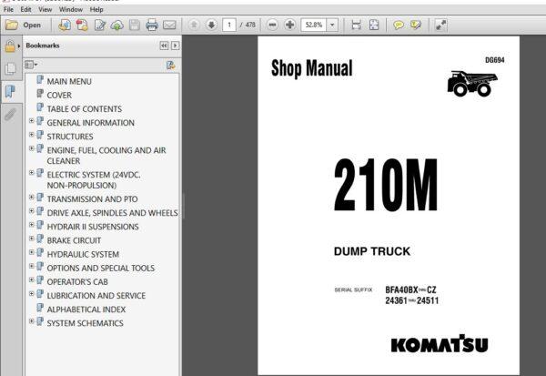 Komatsu 210m Dg694 Service Repair Workshop Manual Pdf Download Heydownloads Manual Downloads Komatsu Dump Truck Manual