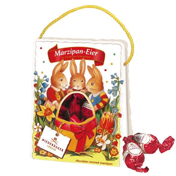 Niederegger easter gift bag with classic treats 5 individually 5 individually wrapped dark chocolate easter eggs with juicy marzipan filling this beautiful gift bag comes with a cute rabbit motif and a lanyard negle Images