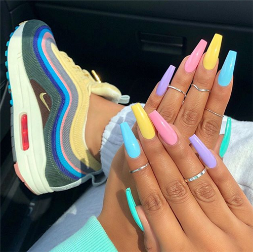 40 Amazing Summer Acrylic Coffin Nails Designs Best For You Septor Planet Coffinnails Summernails 40am In 2020 Best Acrylic Nails Summer Acrylic Nails Rainbow Nails