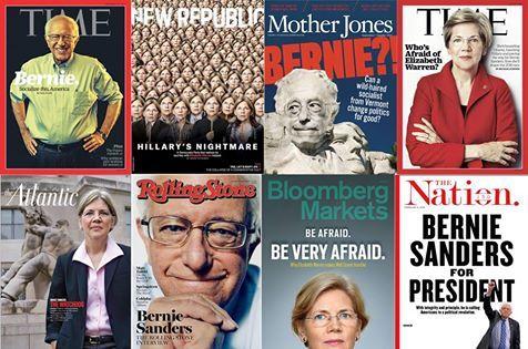 Bernie Sanders and Elizabeth Warren Magazine Articles in 2015-2016.. .