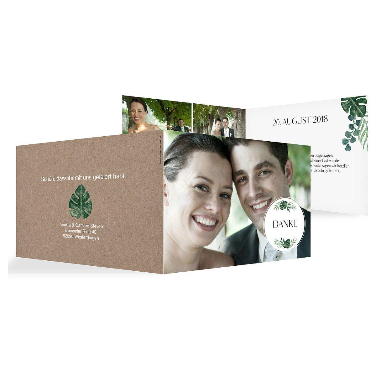 "Dankeskarte Hochzeit ""Greenery Leaves"""
