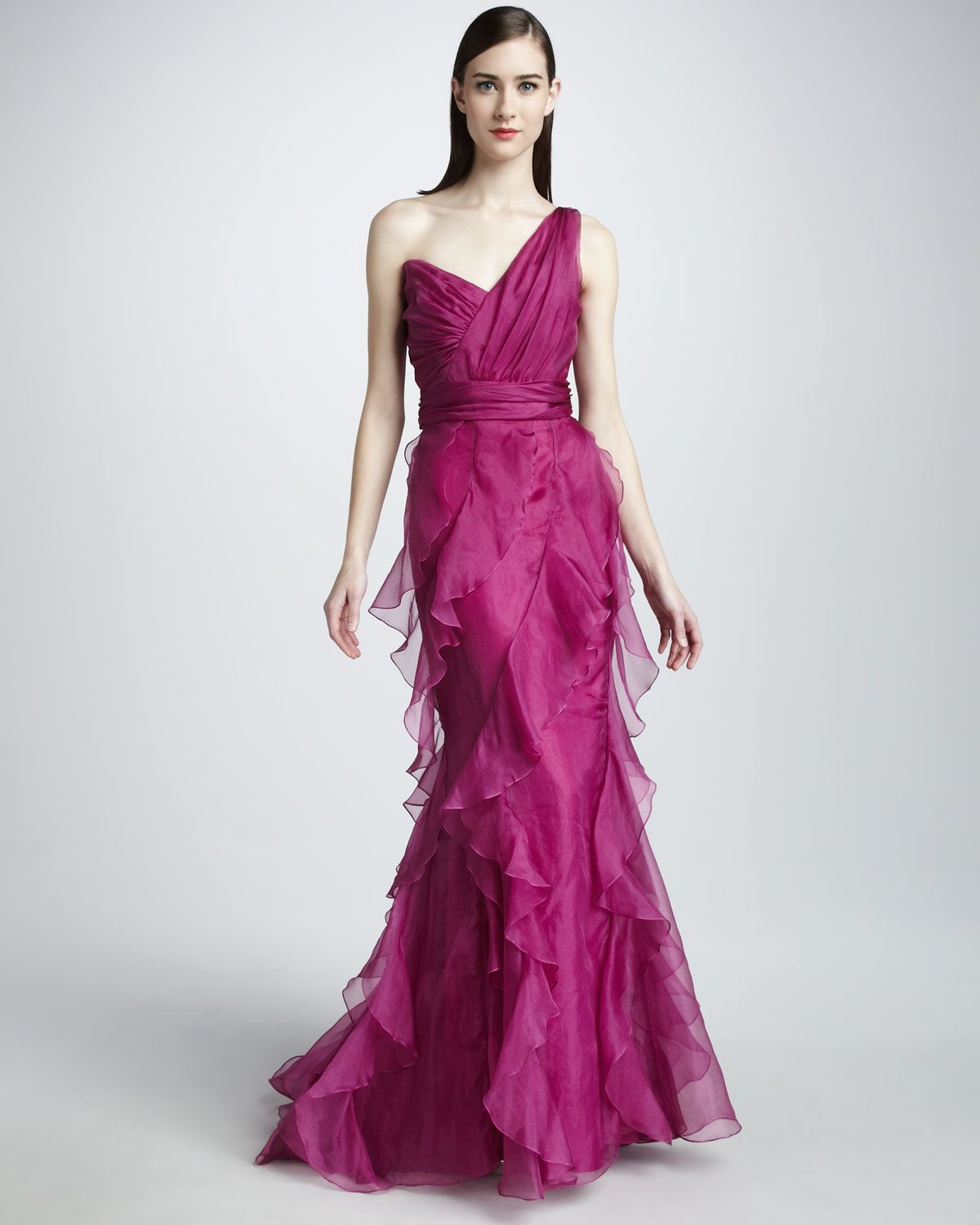 Badgley Mischka: Ruffled One-Shoulder Gown - Neiman Marcus | The ...