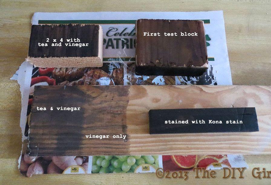 Aging wood with tea, vinegar and steel wool - The DIY Girl