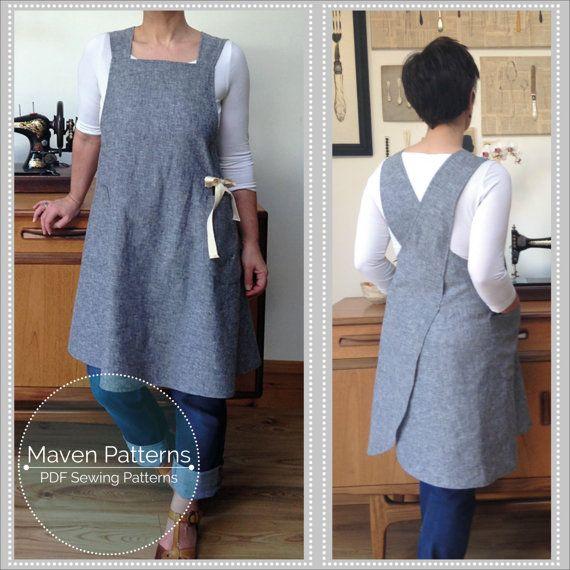 The Maria Apron PDF sewing pattern, Japanese apron, cross-back apron ...