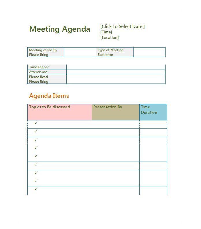 Agenda Template  Meeting Agenda Template  Agenda Template