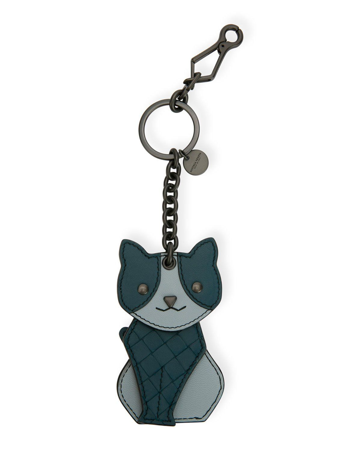Bottega leather cat key chain charm wallets for