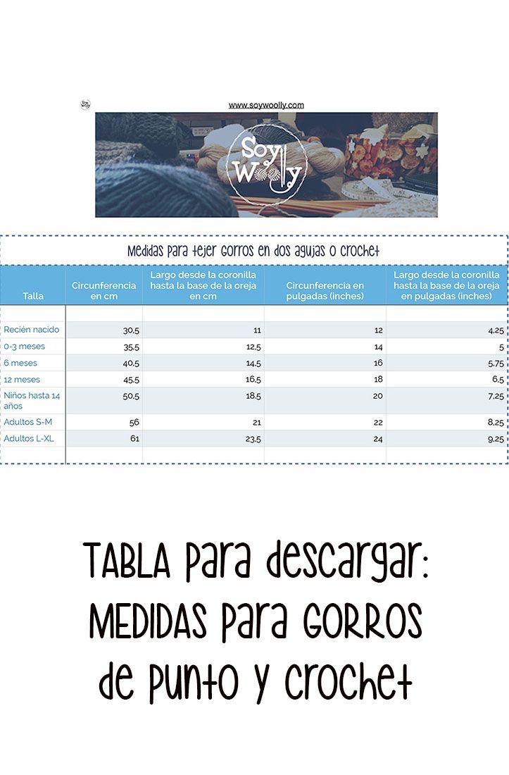 Tabla de Medidas para Tejer GORROS dos agujas-crochet | Pinterest ...