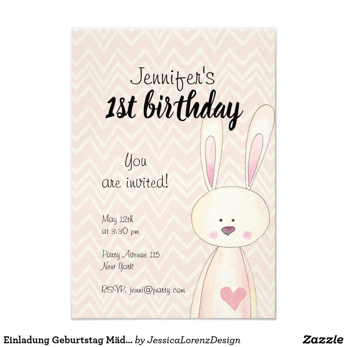 Einladung Geburtstag Madchen Hase Rosa Watercolor Zazzle De