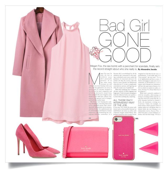 """Pink 💜"" by harrariz ❤ liked on Polyvore featuring MANGO, Dee Keller, Kate Spade and Alexis Bittar"