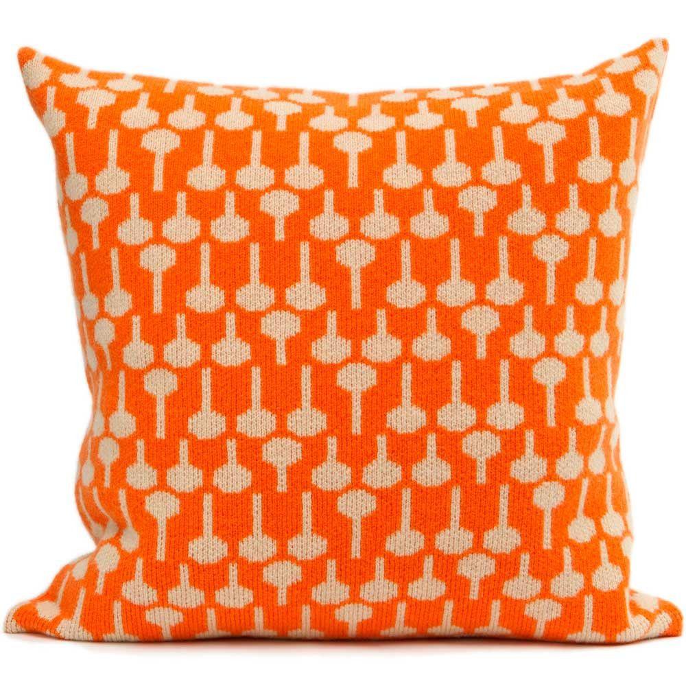 Lolli lambswool knitted cushion in orange & cream