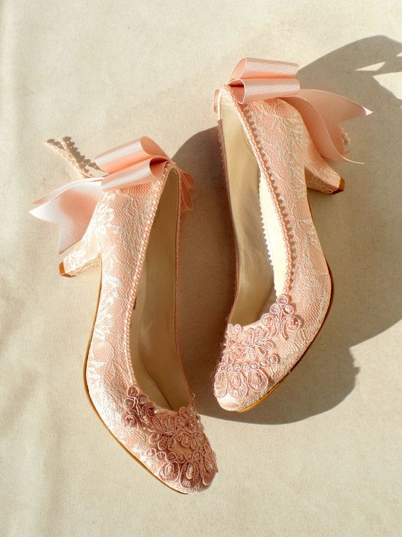 67ca50d9f1e7 Blush Lace Wedding Shoes with Bows Pink by KUKLAfashiondesign