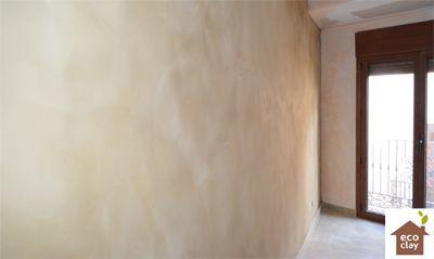 dormitorio revestimiento de arcilla ecoclay acabado Castilla