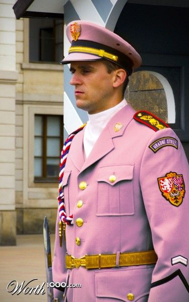 Pink military uniform. Color Blind 9 - Worth1000 Contests.