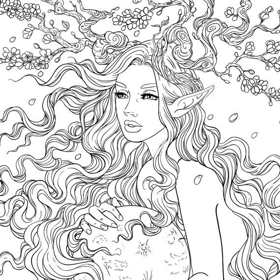 Adult Coloring Page Fantasy Cherry Blossom Tree Fairy Coloring