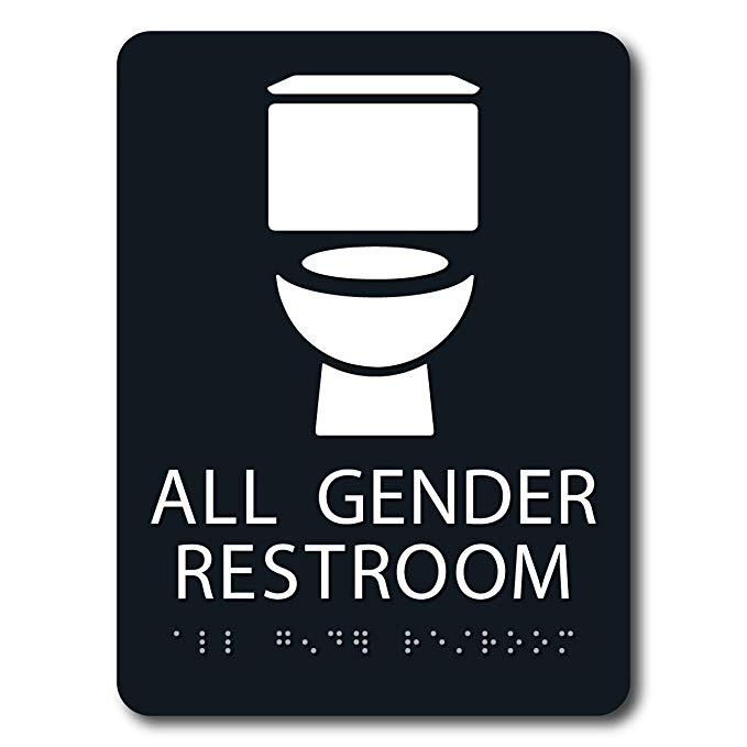 Amazon Com Ada Braille All Gender Restroom Sign 6 X 8 Black Office Products All Gender Restroom Restroom Sign Restroom