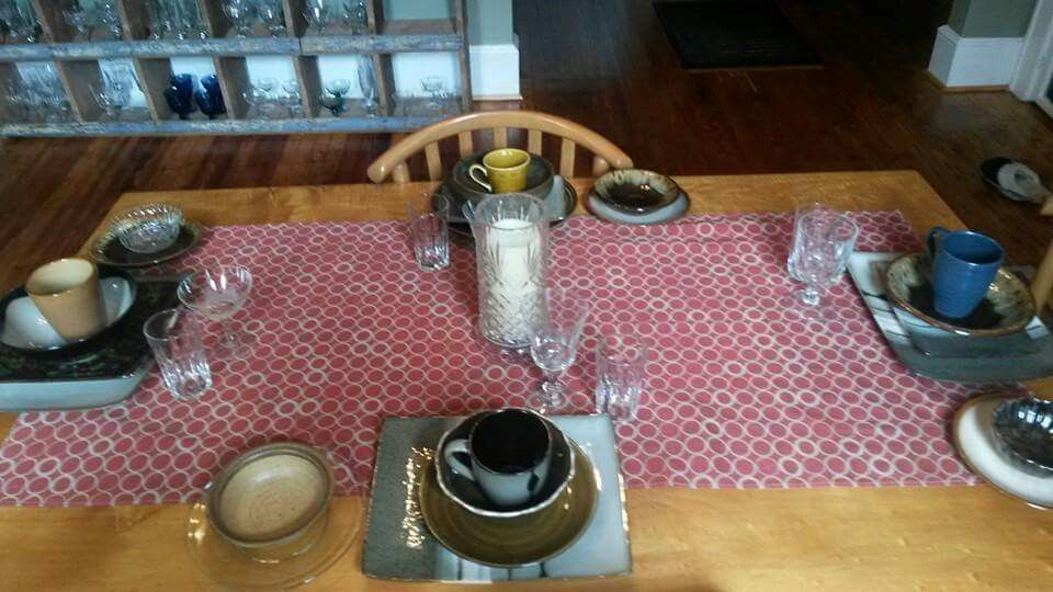 Mix and match thrift store pottery dishes