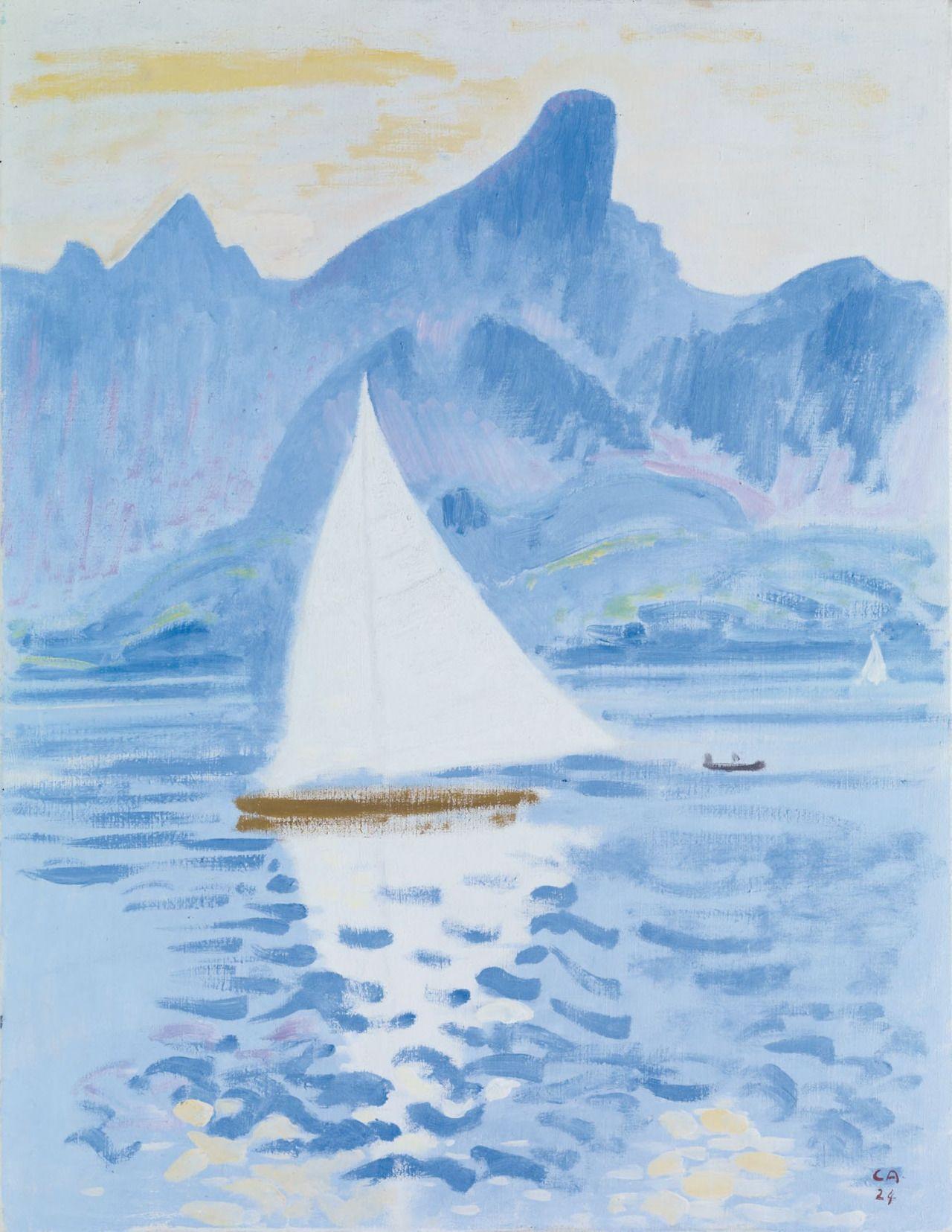 Artiste Peintre St Tropez cuno amiet (swiss,1868-1961) | thunersee mit stockhornkette